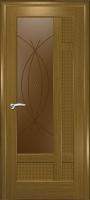 Дверь Лига шпонированная межкомнатная со стеклом 1, дуб