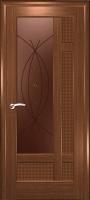 Дверь Лига шпонированная межкомнатная со стеклом 1, орех