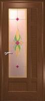 Дверь Лига шпонированная межкомнатная со стеклом 2, орех