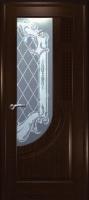 Дверь Уник шпонированная межкомнатная со стеклом 2, венге