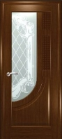 Дверь Уник шпонированная межкомнатная со стеклом 2, орех