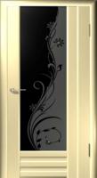 Дверь Галла шпонированная межкомнатная со стеклом 1, беленый дуб