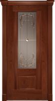 Дверь Пристиж 01 шпонированная межкомнатная со стеклом, махагон