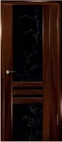 Дверь Шато шпонированная межкомнатная со стеклом 1, махагон