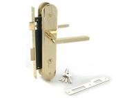 Ручка PALLADIUM 1707 с замком цвет матовое золото с блестящим для межкомнатной двери