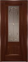 Дверь Модель 01 шпонированная межкомнатная со стеклом 3, махагон