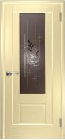 Дверь Модель 01 шпонированная межкомнатная со стеклом 2, беленый дуб