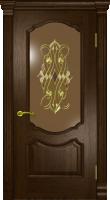 Дверь Маркиза Элит шпонированная межкомнатная со стеклом, махагон
