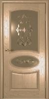 Дверь Оливия  шпонированная межкомнатная со стеклом, жемчуг золото патина