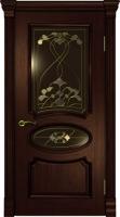 Дверь Оливия Лайт  шпонированная межкомнатная со стеклом, махагон