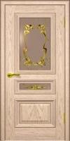Дверь Темп 2  шпонированная межкомнатная со стеклом, жемчуг золото патина