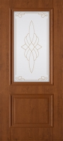 Дверь пвх  Дуэт межкомнатная со стеклом , темный орех